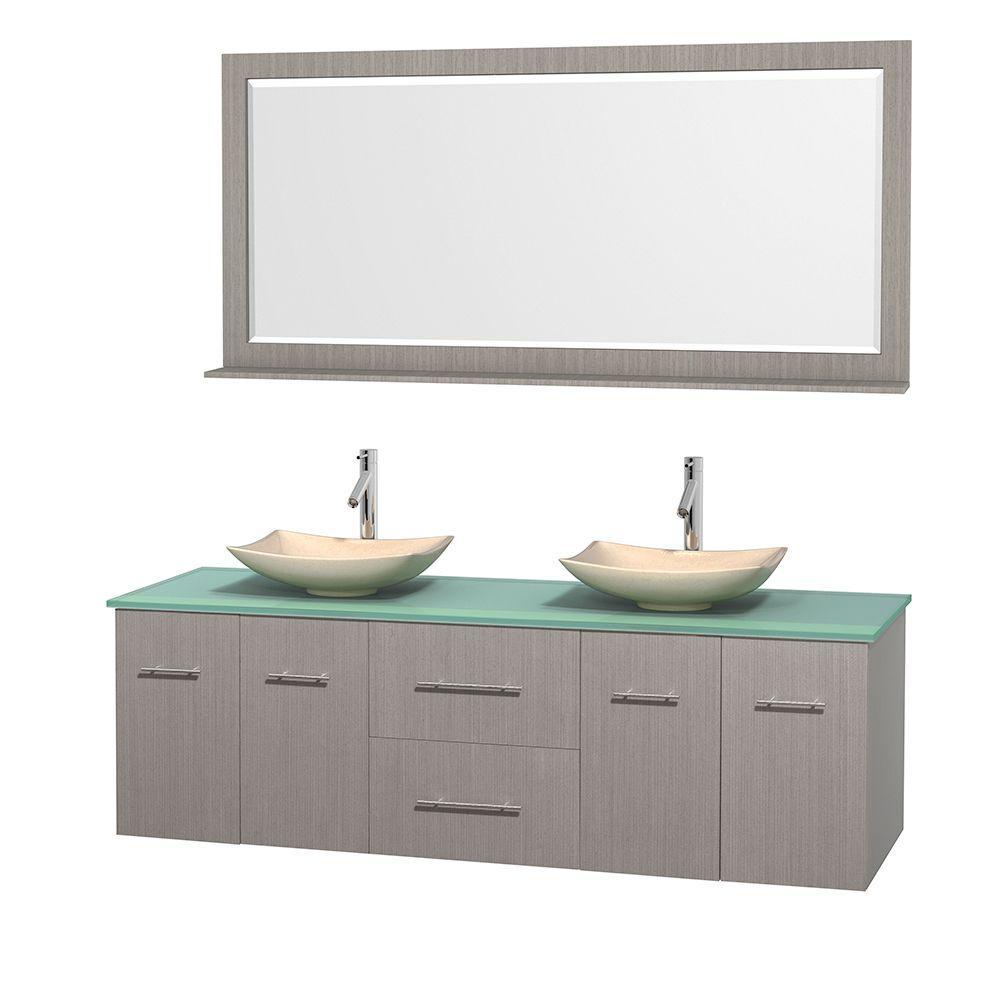 Centra 72 in. Double Vanity in Gray Oak with Glass Vanity