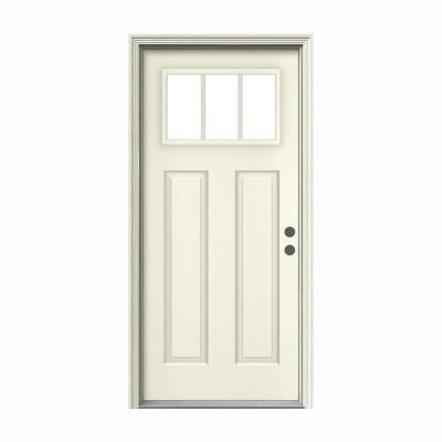 36 in. x 80 in. 3 Lite Craftsman Primed Steel Prehung Left-Hand Inswing Front Door w/Brickmould