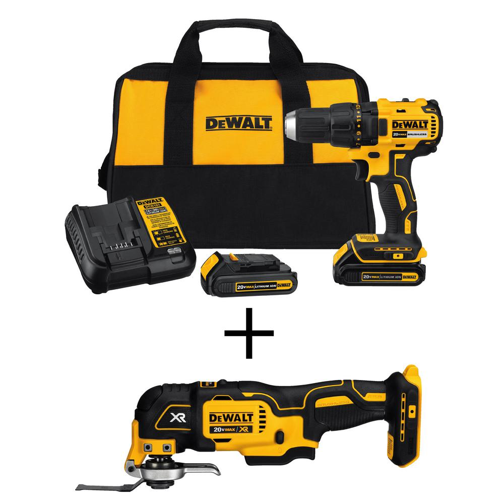 DEWALT 20-Volt MAX Cordless Brushless Compact Drill Driver w/ (2) 20V 1.3Ah Batteries & Charger, Bonus Oscillating Multi-Tool