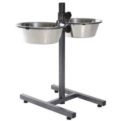 19.5 in. H Dog Bowls with Adjustable Stand 2 Stainless Steel Bowls