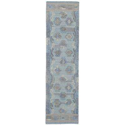 Kozak Light Blue 3 ft. x 10 ft. Indoor Runner Rug