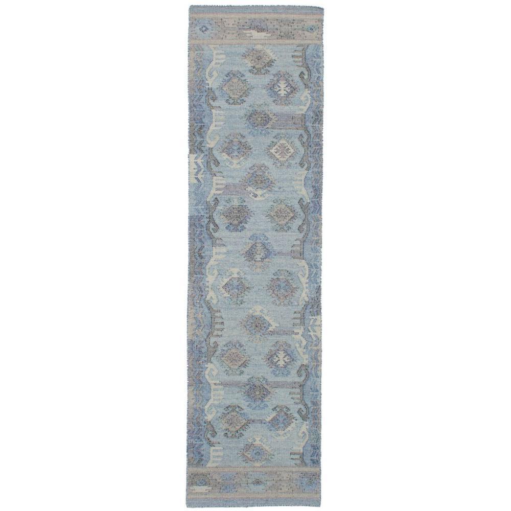 Kozak Light Blue 3 ft. x 10 ft. Indoor Runner Rug