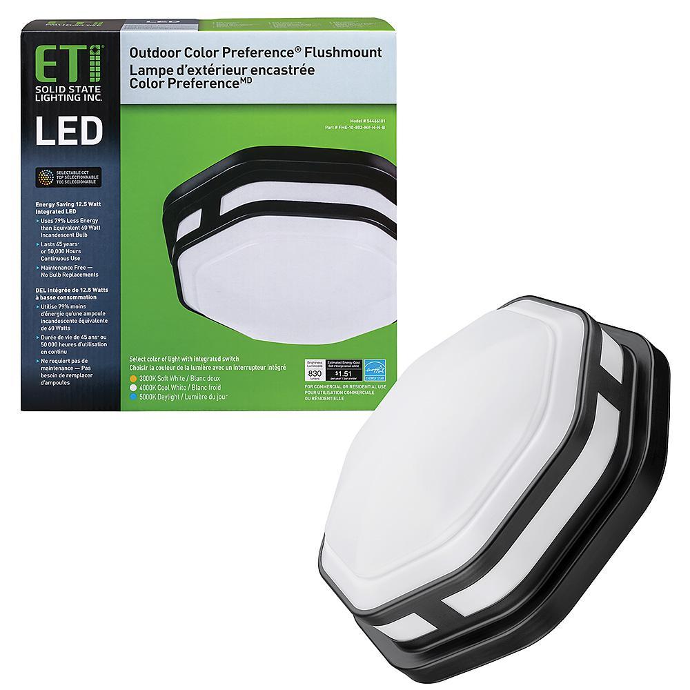 11 in. 1-Light Black Octagon Selectable LED Indoor Outdoor Flush Mount Porch Deck Light 830 Lumens 3000K 4000K 5000K