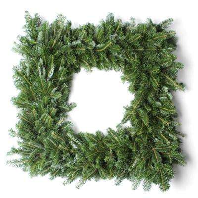 24 in. Fresh Square Christmas Wreath Assembled with Noble Fir, Incense Cedar, Juniper Berries and Pine Cones