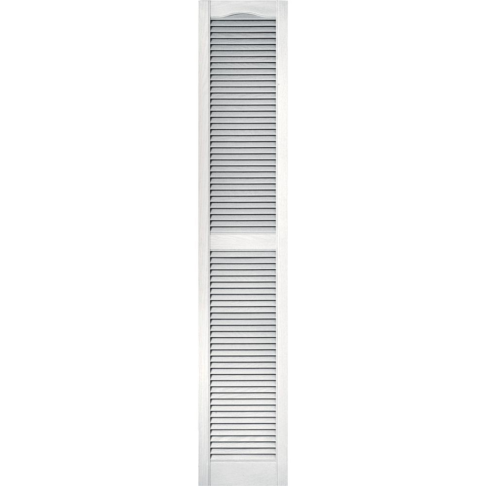 Builders Edge 15 in. x 80 in. Louvered Vinyl Exterior Shutters Pair #117 Bright White