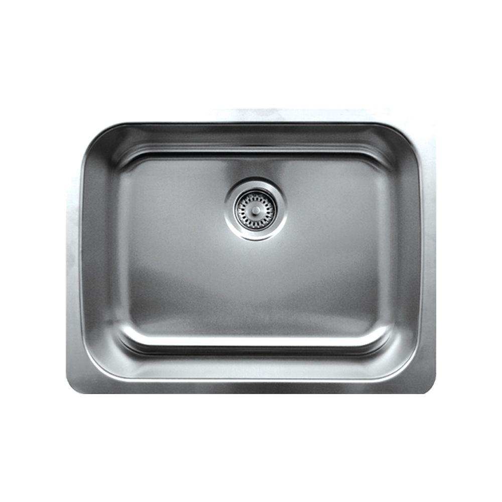 Noah's Collection Undermount Brushed Stainless Steel 23-1/2 in. 0-Hole Single Bowl Kitchen Sink