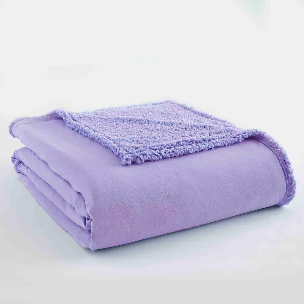 Amethyst Sherpa Back Polyester King Blanket