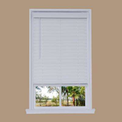 Cut-to-Width White Cordless 2.5 in. Distressed Faux Wood Blind - 34 in. W x 72 in. L