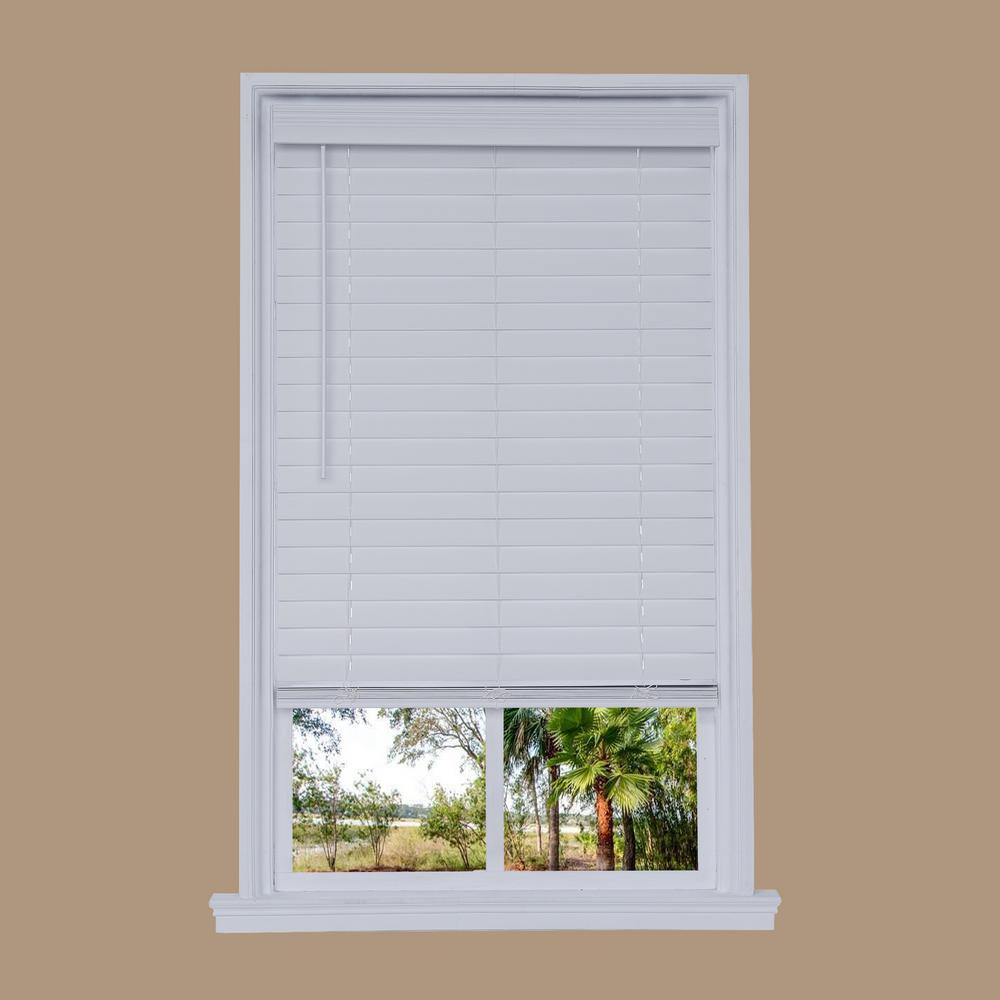 Cut-to-Width White Cordless 2.5 in. Distressed Faux Wood Blind ...