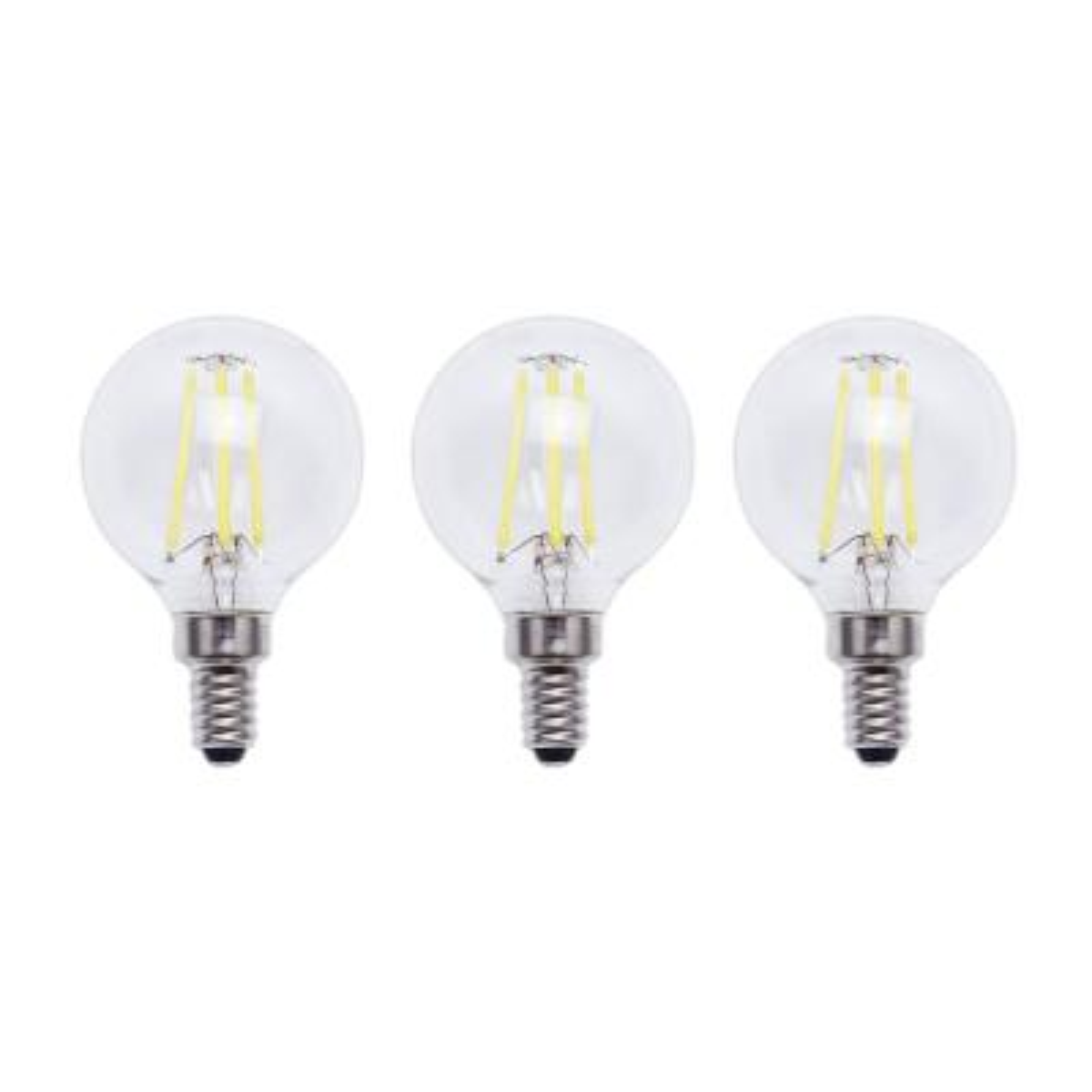 EcoSmart 40-Watt Equivalent G16.5 Globe Dimmable Energy Star Clear Glass Filament Vintage LED Light Bulb Daylight (3-Pack)