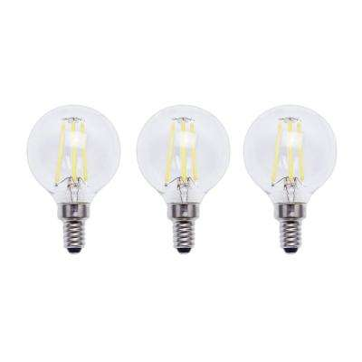 40-Watt Equivalent G16.5 E12 Base Dimmable Clear Filament Vintage Style LED Light Bulb, Daylight (3-Pack)