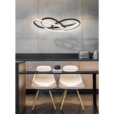 Alexia 25 in. Black Abstract Integrated LED Metal Adjustable Pendant