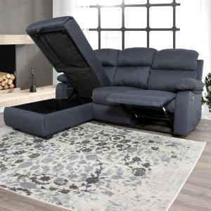 Admirable Ottomanson Recliner L Shaped Navy Blue Corner Sectional Sofa Gamerscity Chair Design For Home Gamerscityorg