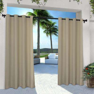 Indoor Outdoor Solid 54 in. W x 84 in. L Grommet Top Curtain Panel in Taupe (2 Panels)