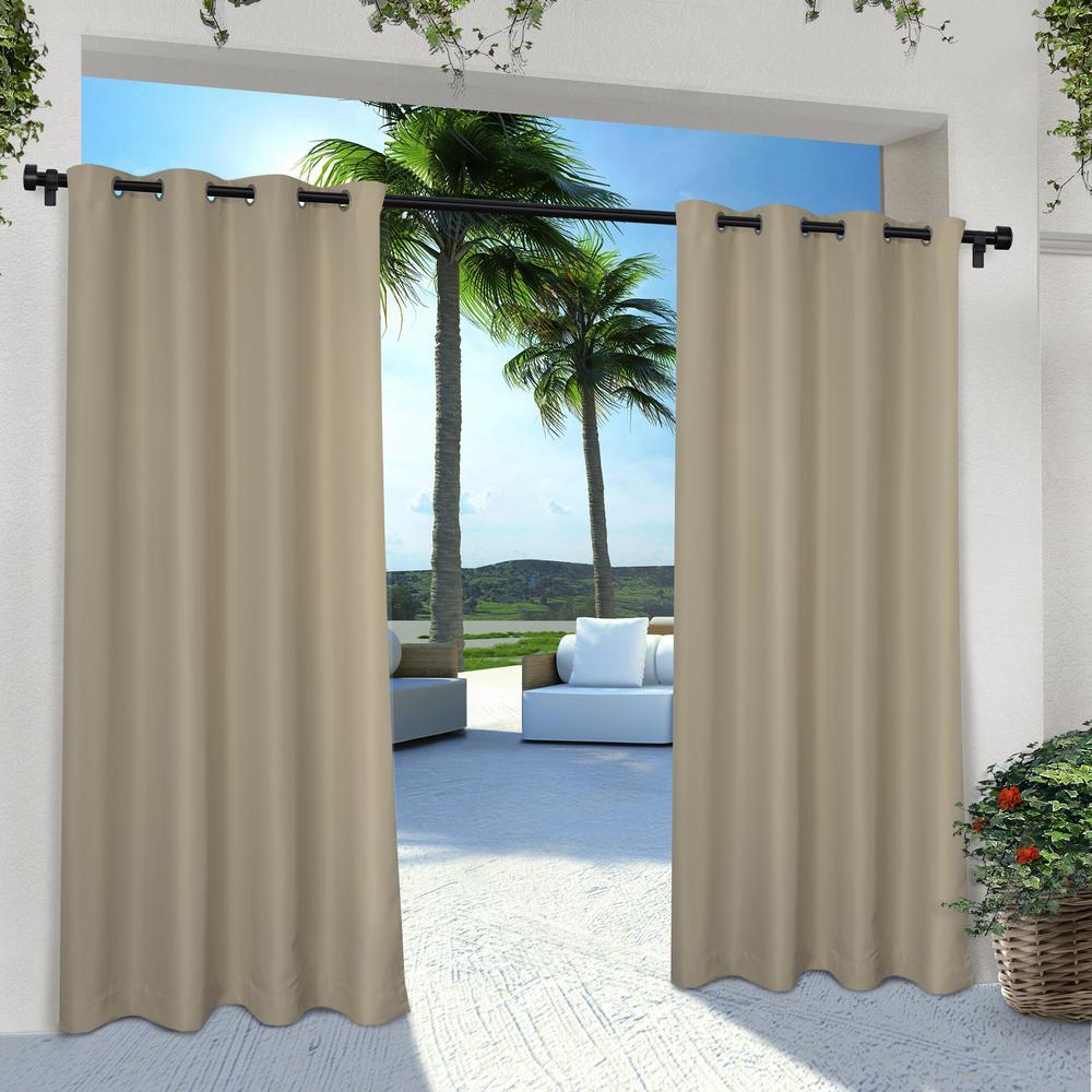 Indoor Outdoor Solid 54 in. W x 84 in. L Grommet Top Curtain Panel in Taupe (2 Panels)
