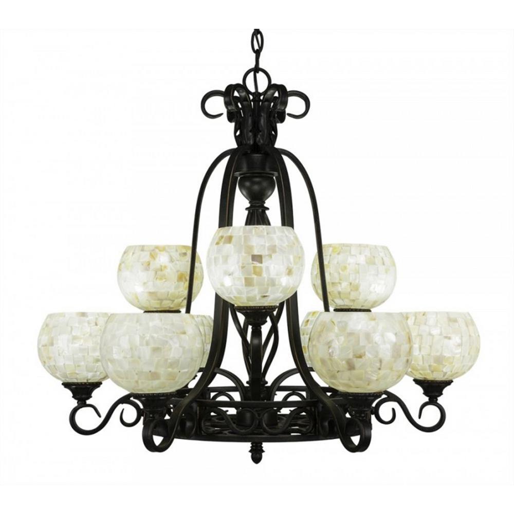 9-Light Dark Granite Chandelier with Mystic Seashell Glass Shade