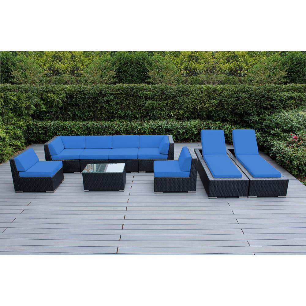 Black 9-Piece Wicker Patio Combo Conversation Set with Spuncrylic Blue Cushions