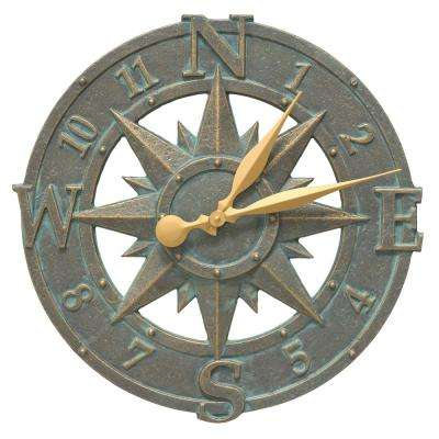 16 in. Compass Rose Indoor Outdoor Wall Clock