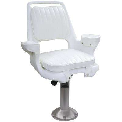 Captain's 15 in. Chair Package with Chair, Cushions, Mounting Plate, Fixed Pedestal and Seat Spider, White