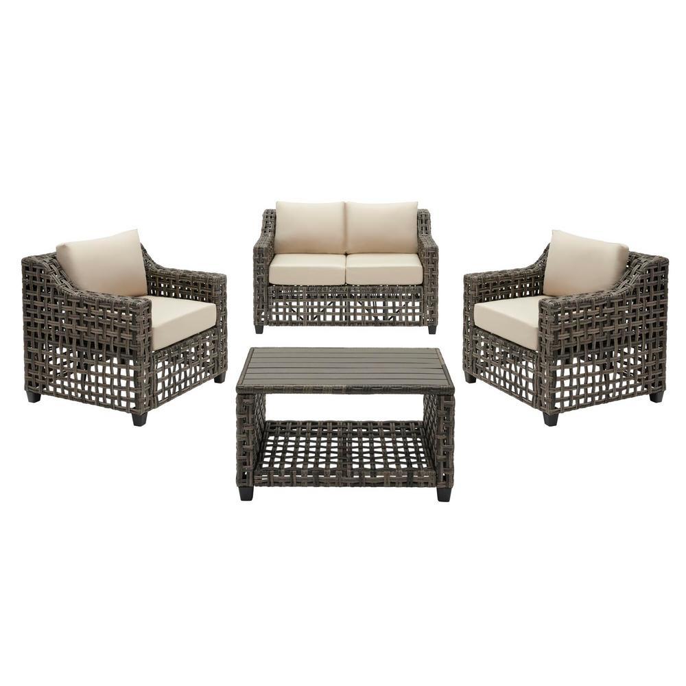 Briar Ridge 4-Piece Brown Wicker Outdoor Patio Conversation Deep Seating Set with Sunbrella Beige Tan Cushions