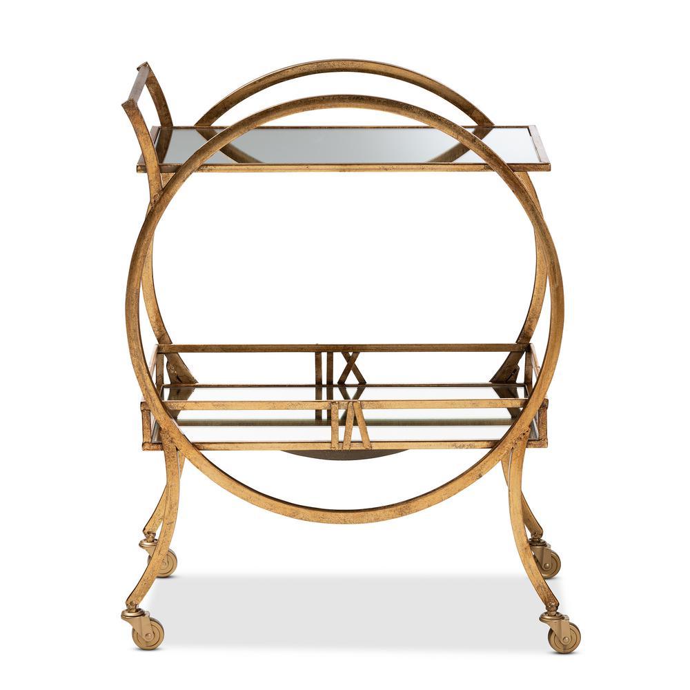 Arsene Antique Gold 2-Tier Mobile Bar Cart