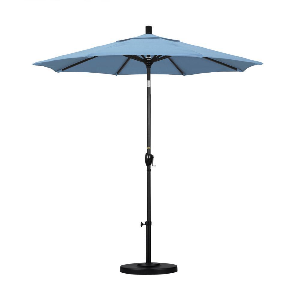 California Umbrella 7.5 ft. Black Aluminum Pole Market Aluminum Ribs Push Tilt Crank Lift Patio Umbrella in Air Blue Sunbrella
