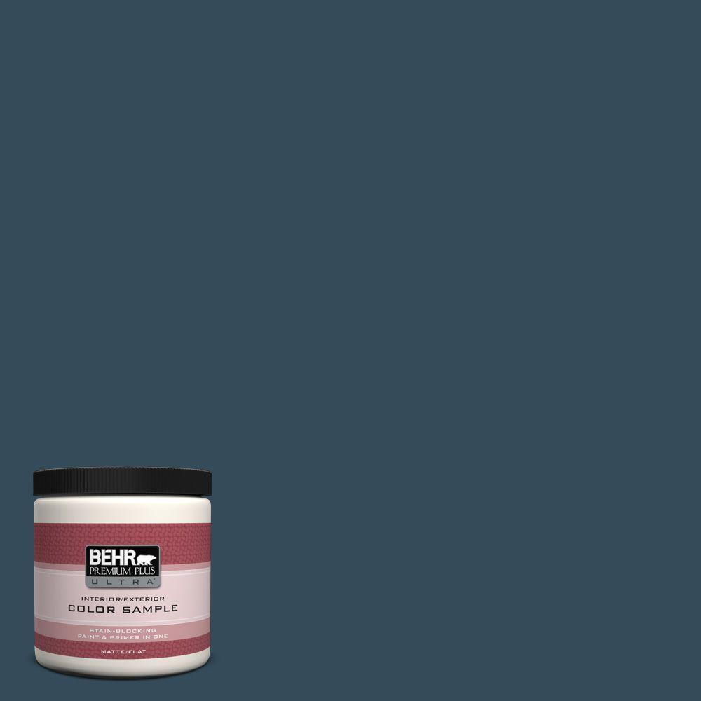 BEHR Premium Plus Ultra 8 oz. Home Decorators Collection Nocturne Blue Interior/Exterior Paint Sample