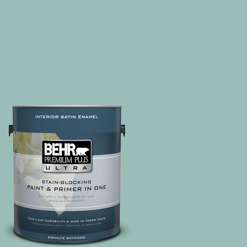 BEHR Premium Plus Ultra 1-Gal. #PPU12-7 Spring Stream Satin Enamel Interior Paint