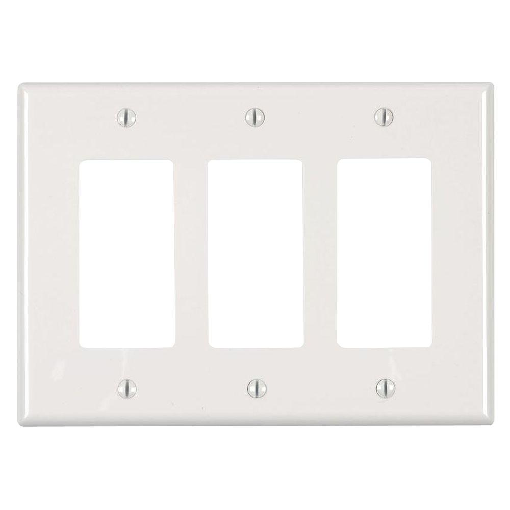 White 3-Gang Decorator/Rocker Wall Plate (1-Pack)