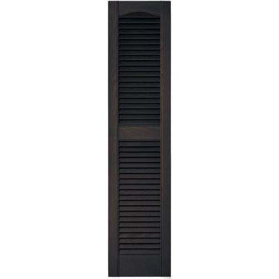 12 in. x 52 in. Louvered Vinyl Exterior Shutters Pair in #010 Musket Brown