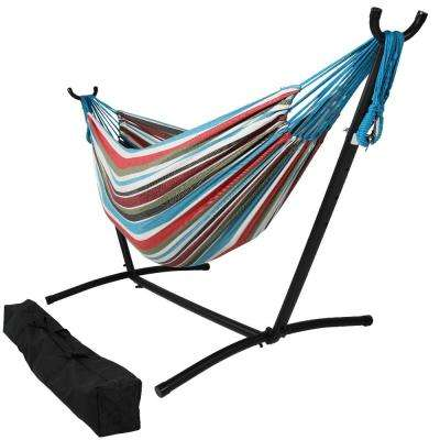 10.5 ft. Fabric Cotton Double Brazilian Hammock with Stand Combo in Cool Breeze