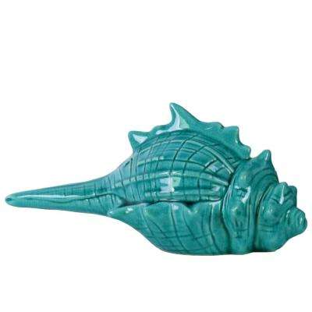 4.5 in. H Seashell Decorative Figurine in Blue Gloss Distressed Finish