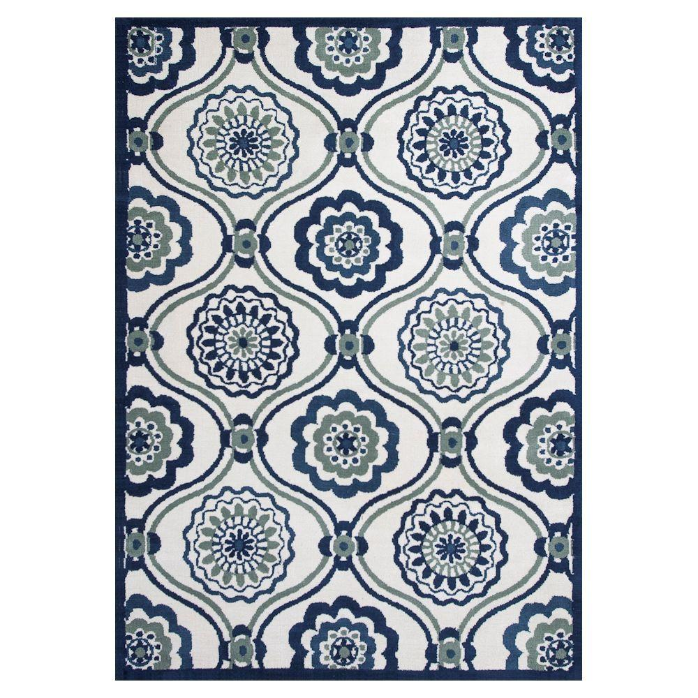 Kas Rugs Stylish Mosaic Ivory/Blue 6 ft. 7 in. x 9 ft. 6 in. Area Rug