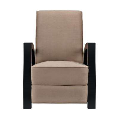 KUTA Solid Wood Java Black and Premium Brown Microvelvet Recliner