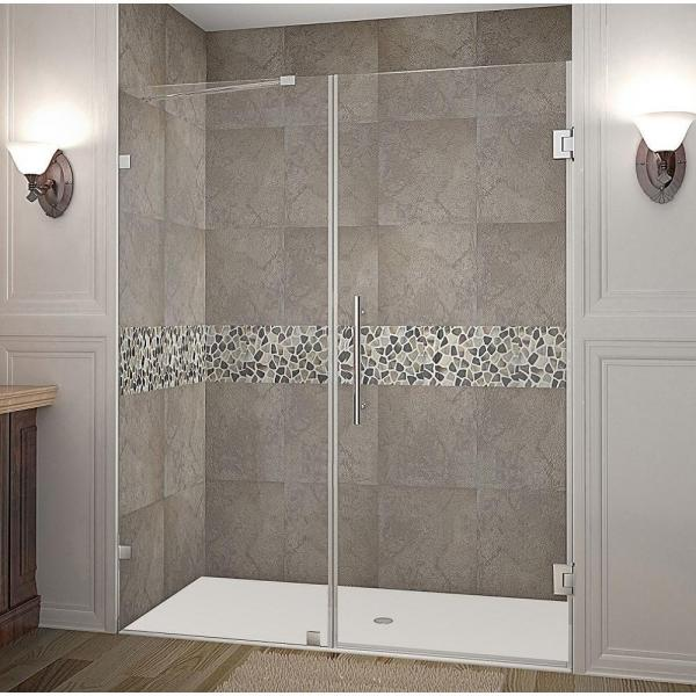 Nautis 61 in. x 72 in. Completely Frameless Hinged Shower Door in Stainless Steel