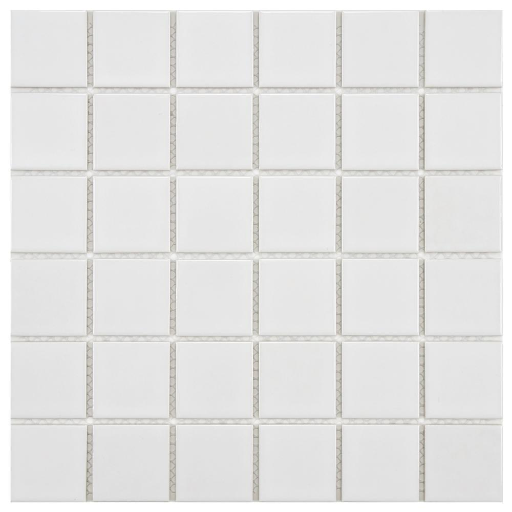 Merola Tile Boreal Quad Glossy White 11-7/8 in. x 11-7/8 in. x 6 mm Porcelain Mosaic Tile