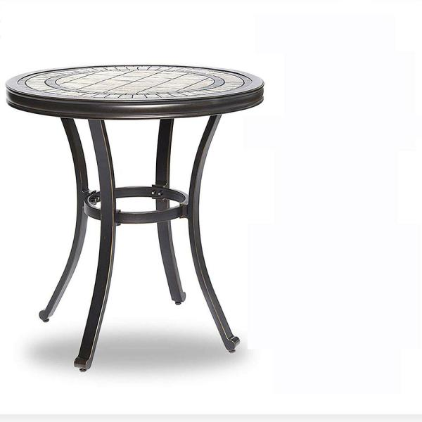 Brown 28 in. Dia x 28.6 in. H Round Aluminum Outdoor Patio Bistro Garden Dining End Table