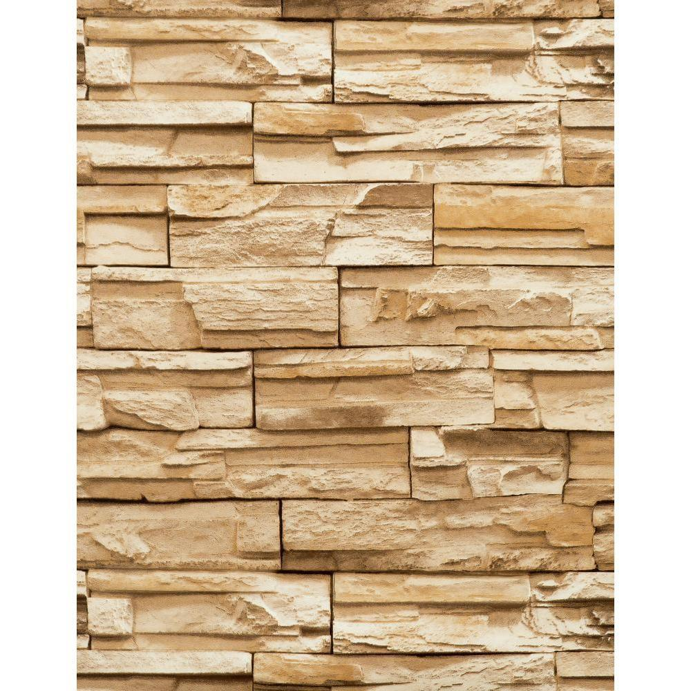 York Wallcoverings 57 sq. ft. Travertine Wallpaper