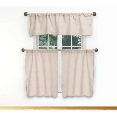 Nakita Kitchen Valance in Linen-Gold - 15 in. W x 58 in. L (3-Piece)