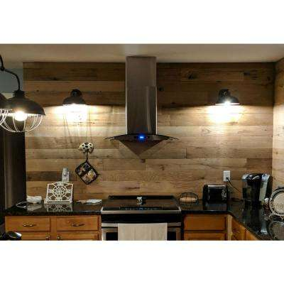 24 Sq Ft 4 1/2 in. Width Weathered Antique Oak Reclaimed Barnwood Wall Applique Planks Stick and Peel Paneling Kit