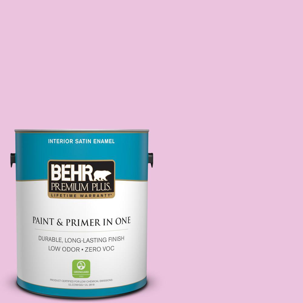 BEHR Premium Plus 1-gal. #680A-2 Sugar Sweet Zero VOC Satin Enamel Interior Paint