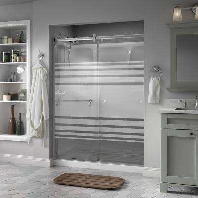 Portman 60 in. x 71 in. Semi-Frameless Contemporary Sliding Shower Door in Chrome with Transition Glass