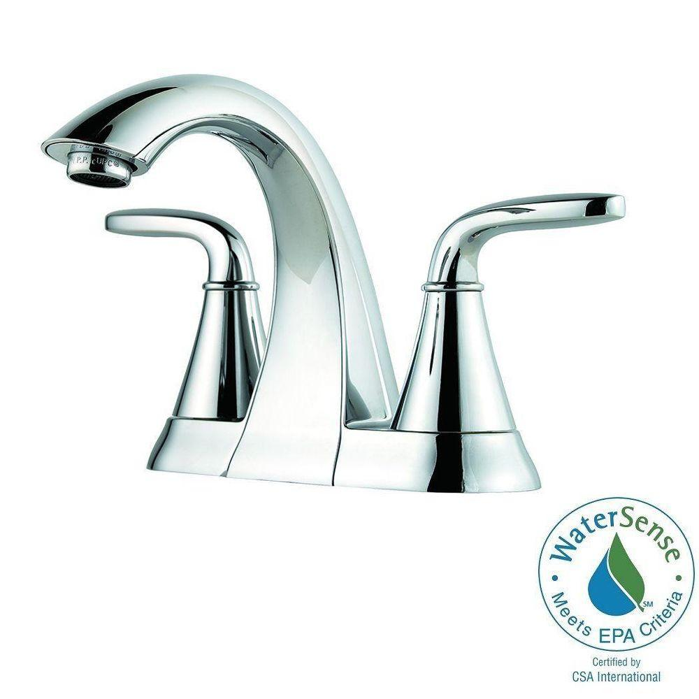 Pfister Pasadena 4 in. Centerset 2-Handle High-Arc Bathroom Faucet in Polished Chrome