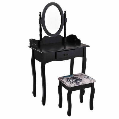 2-Piece Black Bedroom Set Vanity Wood Makeup Dressing Table Stool Set with Drawer and Mirror Jewelry Desk