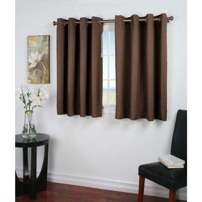 Ultimate Blackout 56 in. W x 45 in. L Polyester Short Length Blackout Window Panel in Espresso