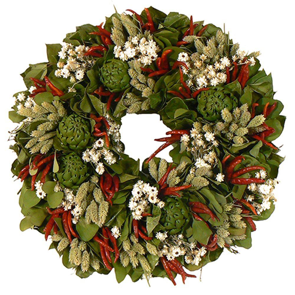 The Christmas Tree Company Zesty Chili and Mixed Herb 18 in. Dried Floral Wreath-DISCONTINUED