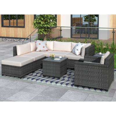 8-Piece Gray Wicker Patio Conversation Set with Beige Cushions