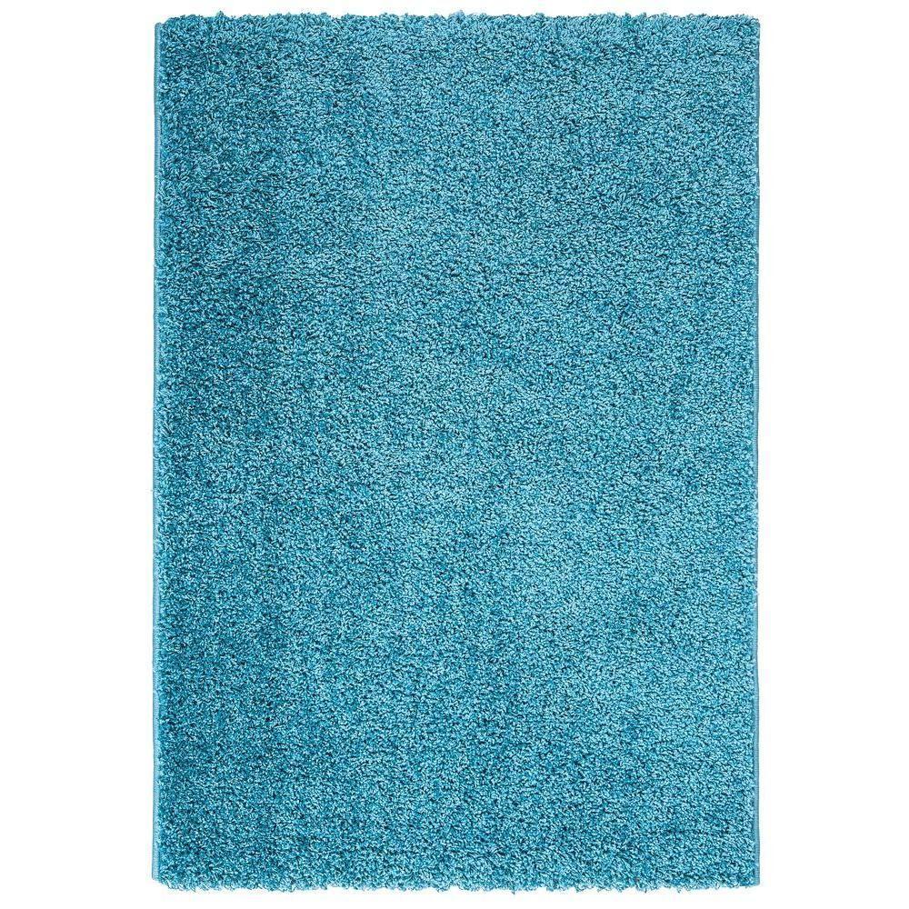 Berrnour Home Plush Solid Shaggy Blue 7 Ft X 9 Ft Shag