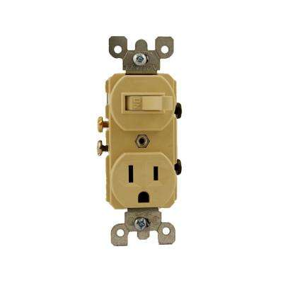 15 Amp Commercial Grade Combination Single Pole Toggle Switch and Receptacle, Ivory
