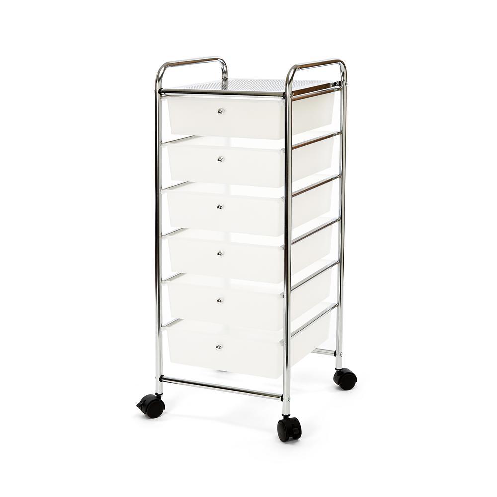 Frosted White Large 6 - Drawer Storage Bin Organizer Cart